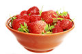 Strawberry this photograph shows a ripe strawberries in an earthenware dish Stock Photo