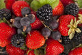 Strawberry, raspberry and blackberry Stock Images