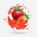 Strawberry realistic juice Fresh fruit splash vector icon Royalty Free Stock Photo