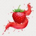 Strawberry realistic juice splash vector icon Royalty Free Stock Photo