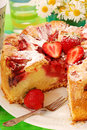 Strawberry  and rhubarb cake Stock Images