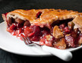 Strawberry and rhubarb pie piece closeup Royalty Free Stock Image