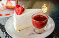 Strawberry sauce crepe cake on white dish Stock Image