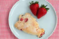 Strawberry scone with fresh fruit Royalty Free Stock Photos