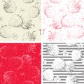 Strawberry seamless pattern backgrounds vector with berries and flowers at engraving style Stock Photography