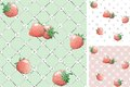 Strawberry seamless pattern backgrounds vector with berries and flowers at retro style Royalty Free Stock Photos