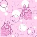 Strawberry seamless pattern pink circle Stock Image