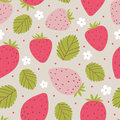 Strawberry seamless pattern in pink colors. Vector illustration Royalty Free Stock Photo