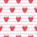 Strawberry seamless vector striped pattern.