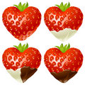 Strawberry in the shape of heart Stock Photos
