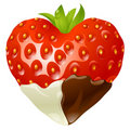Strawberry in the shape of heart Stock Photography