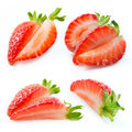 Strawberry slices collection of fruit pieces on white background Royalty Free Stock Image