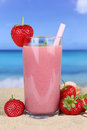 Strawberry smoothie fruit juice cocktail with strawberries fruit Royalty Free Stock Photo