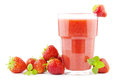 Strawberry smoothie glass of with strawberries Royalty Free Stock Photography