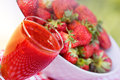 Strawberry smoothie healthy and full bowl of strowberry Stock Photography
