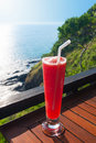 Strawberry smoothie soda with nice sea view of lanta island krabi thailand Royalty Free Stock Image