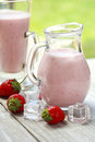 Strawberry smoothie with strawberries dessert smoothies Stock Images