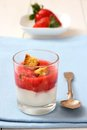 Strawberry smoothie with yogurt, biscotti biscuits Royalty Free Stock Photo