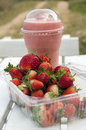 Strawberry and smoothies Royalty Free Stock Photo