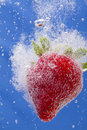 Strawberry In Soda Royalty Free Stock Image