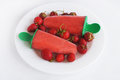 Strawberry sorbet with fresh strawberry red berry ice cream testy strawberries on white plate Royalty Free Stock Image