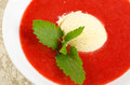 Strawberry soup ice cream mint Royalty Free Stock Photo