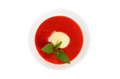 Strawberry soup ice cream mint white Royalty Free Stock Images