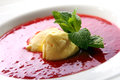 Strawberry soup with natural ice cream and mint Royalty Free Stock Photo