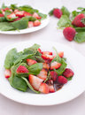 Strawberry and spinach salad with dressing Royalty Free Stock Photography