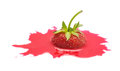 Strawberry splash isolated on the white background red Royalty Free Stock Images
