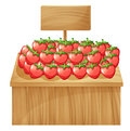 A strawberry stand with an empty wooden signboard illustration of Stock Photo