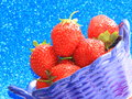 Strawberry stock photos in blue plate valentines day gift or summer vitamins food Royalty Free Stock Photography