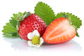 Strawberry strawberries berry berries fruit fruits isolated on w Royalty Free Stock Photo