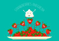 Strawberry. Strawberry vector. Strawberries and cream composition on a plate. Funny, cartoon fruit. Set fruit. Funny Royalty Free Stock Photo