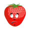 Strawberry Surprised Emoji. Red berry astonished emotion isolate