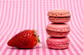 Strawberry and sweet red macaron Royalty Free Stock Photos