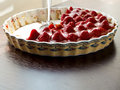 Strawberry tart cake with cream filling and baking mold