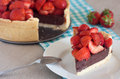 Strawberry tart the with chocolate Royalty Free Stock Image