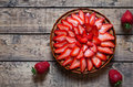 Strawberry tart with cream traditional summer sweet pastry fruit dessert Royalty Free Stock Photo