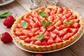 Strawberry tart with custard Royalty Free Stock Photo