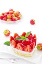 Strawberry tart slice of with fresh strawberries Royalty Free Stock Images
