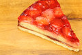 Strawberry tart on wooden background with space for text Stock Photo