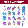 Strawberry Tasty Fruit Collection Icons Set Vector Royalty Free Stock Photo