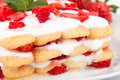 Strawberry tiramisu closeup italian cuisine desserts shot of strawberries Stock Photography