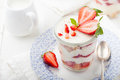 Strawberry tiramisu, trifle, custard dessert with mint leaves Royalty Free Stock Photo