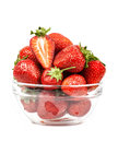 Strawberry in a transparent piala isolated Stock Photography