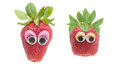 Strawberry two funny characters with wiggle eyes Royalty Free Stock Image