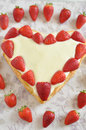 Strawberry vanilla cake heart shaped Stock Images
