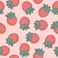 Strawberry vector pattern, fruit illustration on white background, Good for wallpaper.