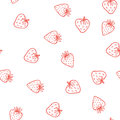 Strawberry vector seamless pattern. Cute tasty
